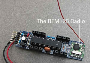 JeeNode with RFM12B radio unit.